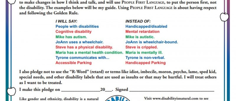 LET'S PUT THE PERSON FIRST, NOT THE DISABILITY!
