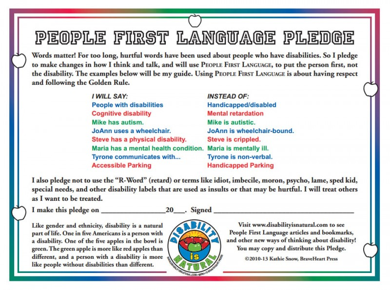 People First Language Pledge